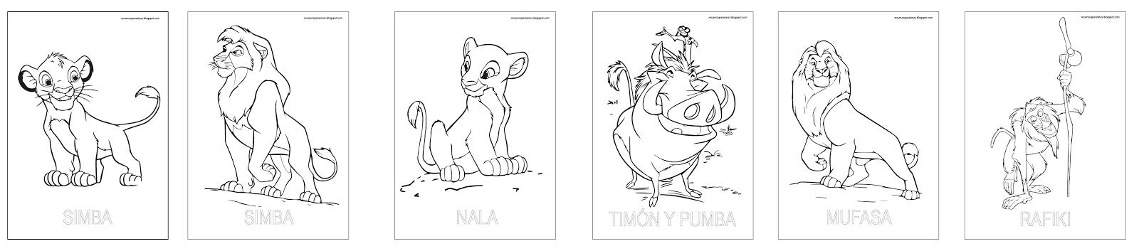 Libro fichas Rey León para colorear PDF | Recursos para Niñ@s