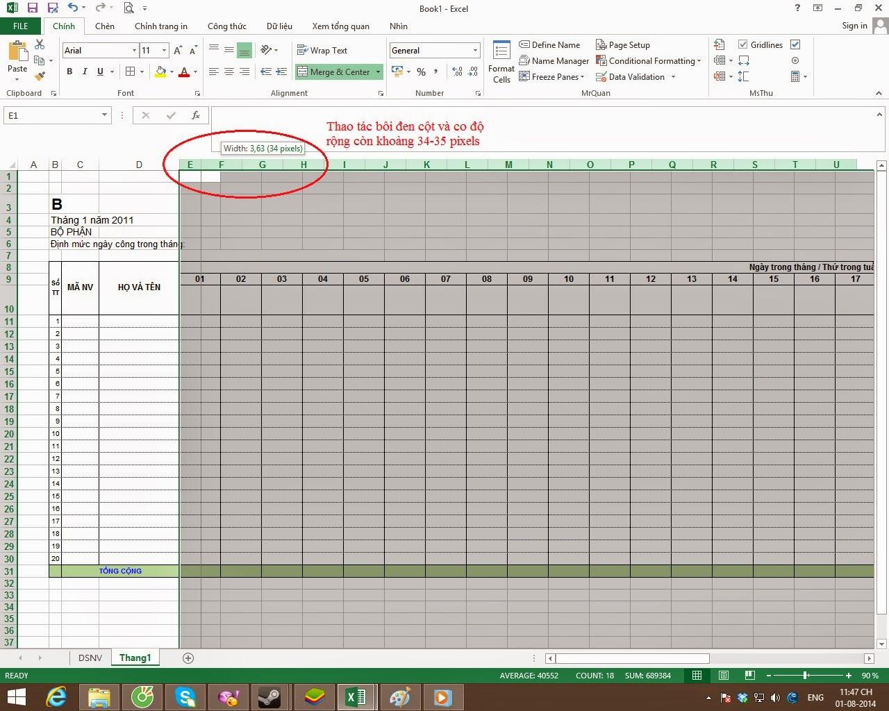 Hướng dẫn cách tạo bảng chấm công trên Excel chi tiết nhất