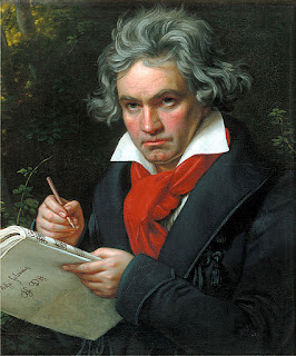 Classic portrait of Ludwig van Beethoven writing