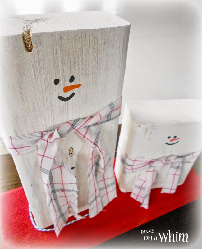 Wooden Block Snowmen from Denise on a Whim