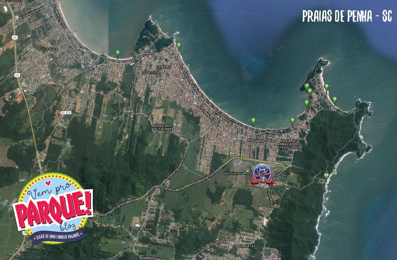 Mapa Praias de Penha