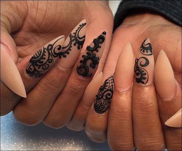 Henna Nail Art Design on White Nails - Henna Inspired Nail Art Designs