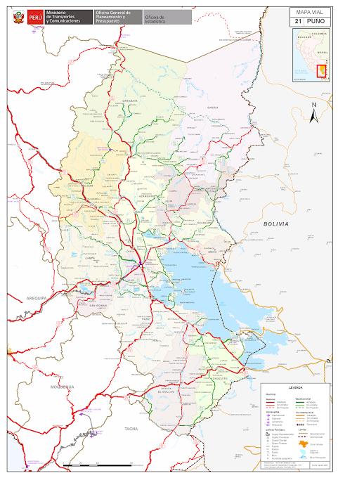 Mapa rodoviário da região de Puno - Peru