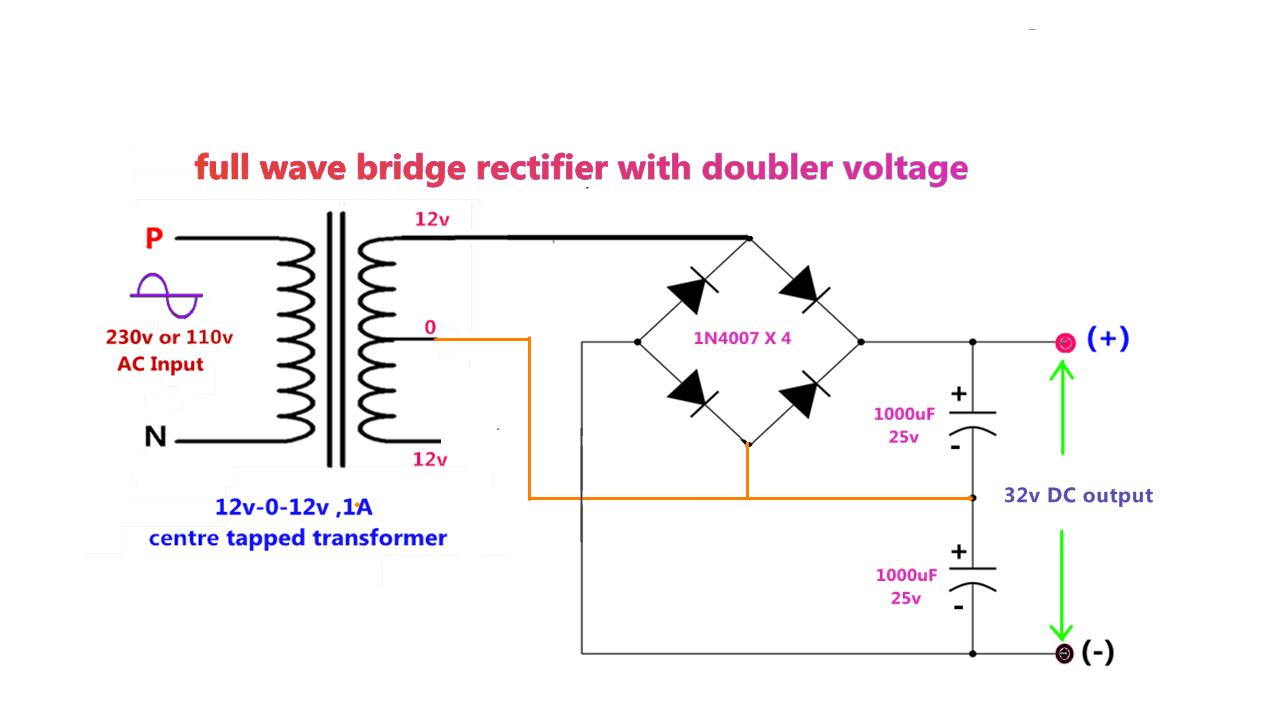Power Gen Circuit Diagram List Part 2 Full Wave Bridge Rectifier Low Cost Transformerless Supply 230v Ac To 16v Dcusing 4leds Bright Lights Make 3