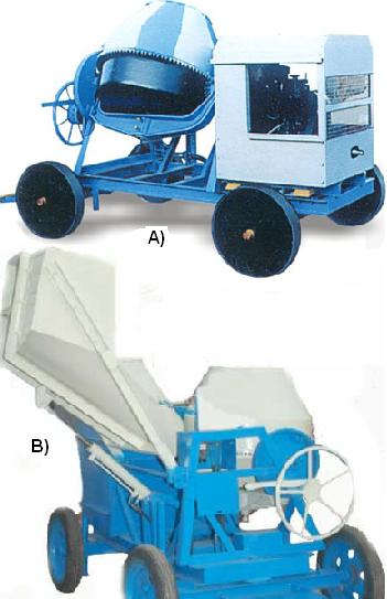 Concrete mixers without hopper and Concrete mixers with mechanical hopper