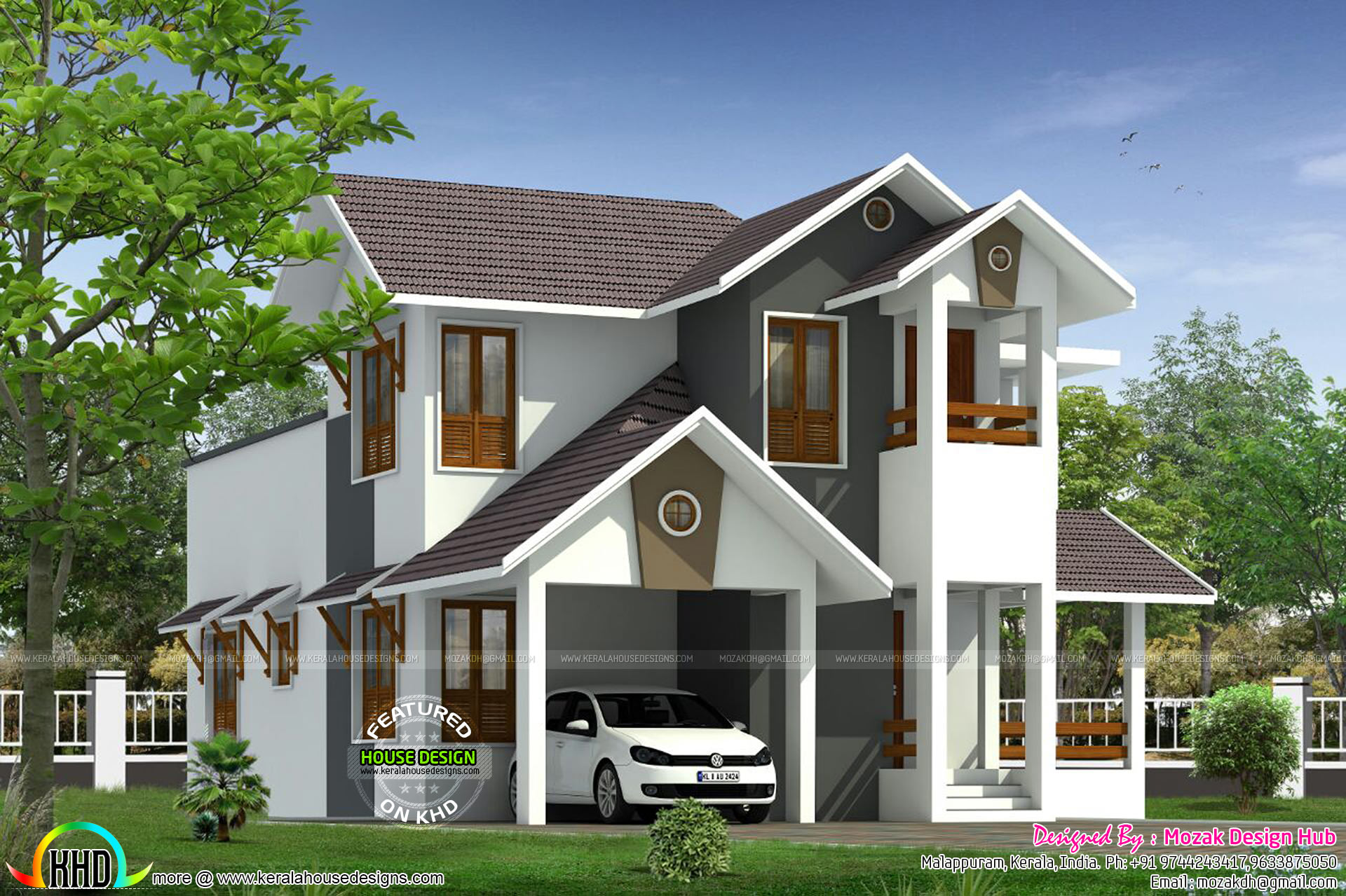 Front Elevation Slanting Roof Design : Sloping roof house by mozak design hub kerala home