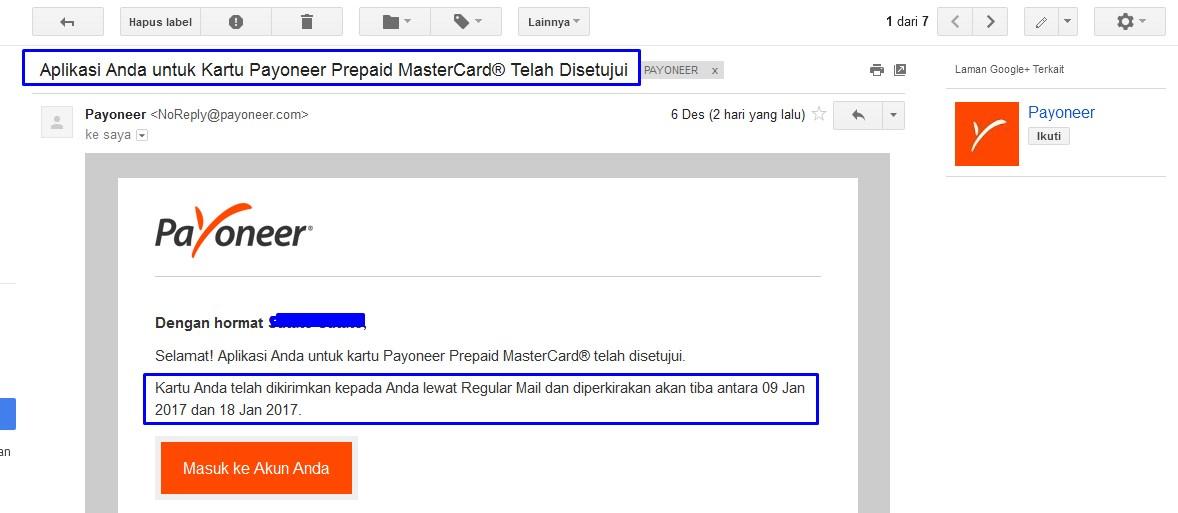 Konfirmasi Email Pengajuan Kartu Payoneer dikirim ke alamat Anda