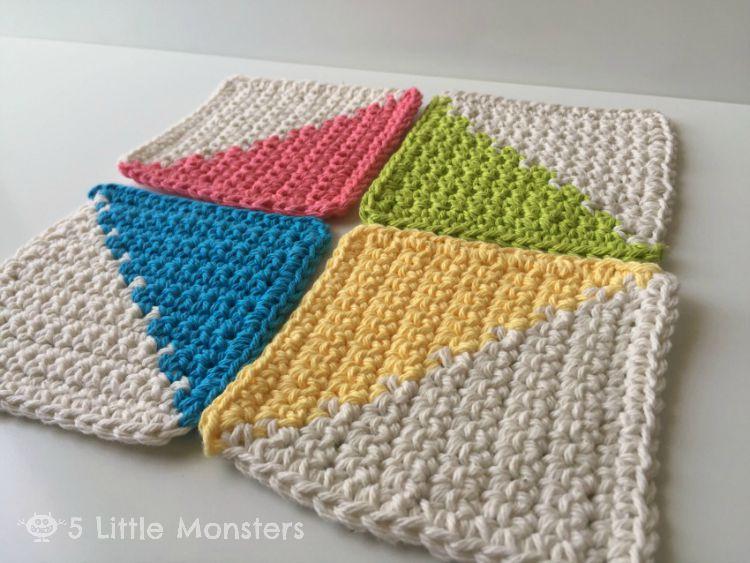 5 Little Monsters Modern Crochet Coasters
