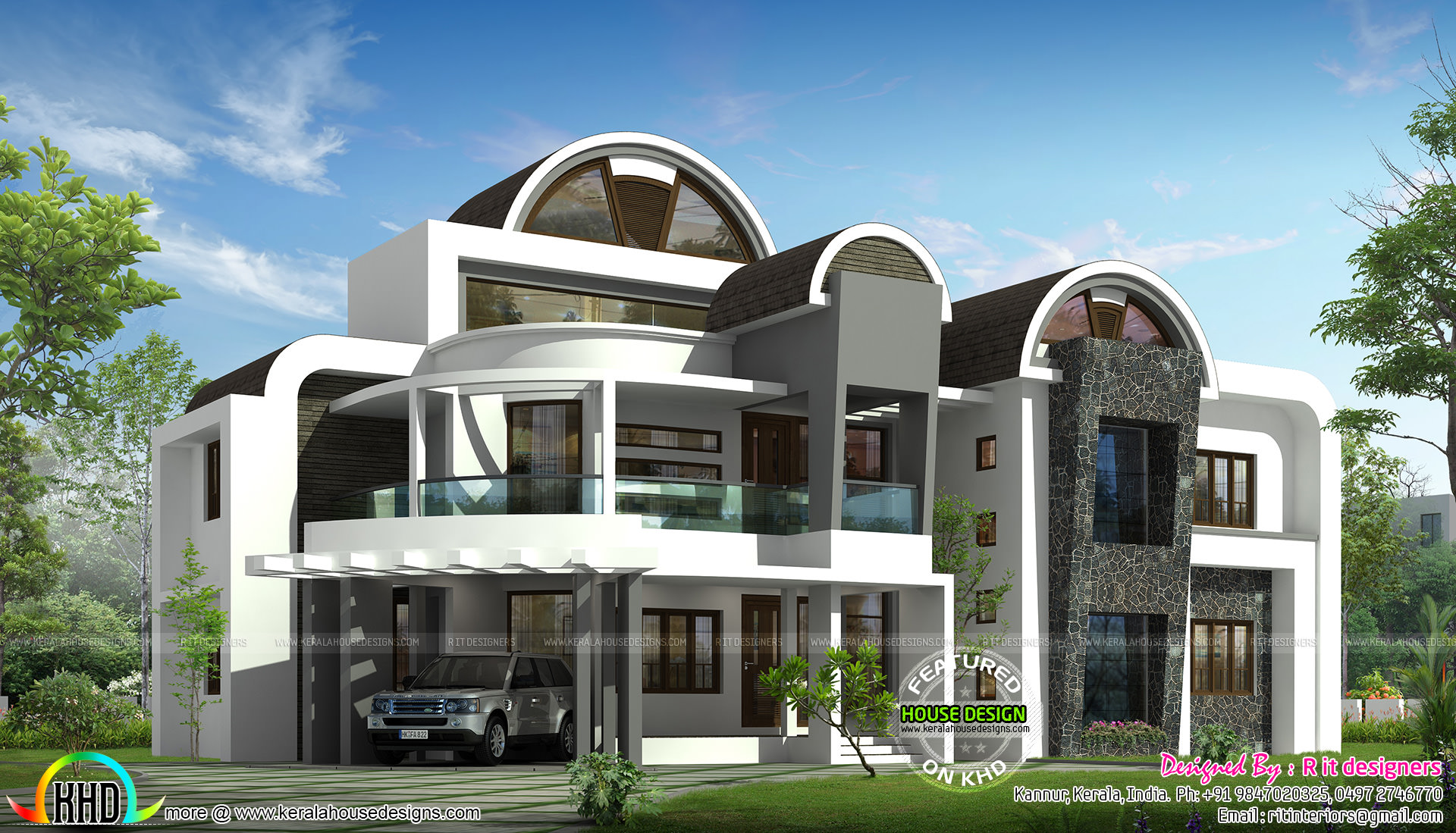 Half round roof unique house design kerala home design for Interesting home designs