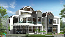 Roof Unique House Design - Kerala Home