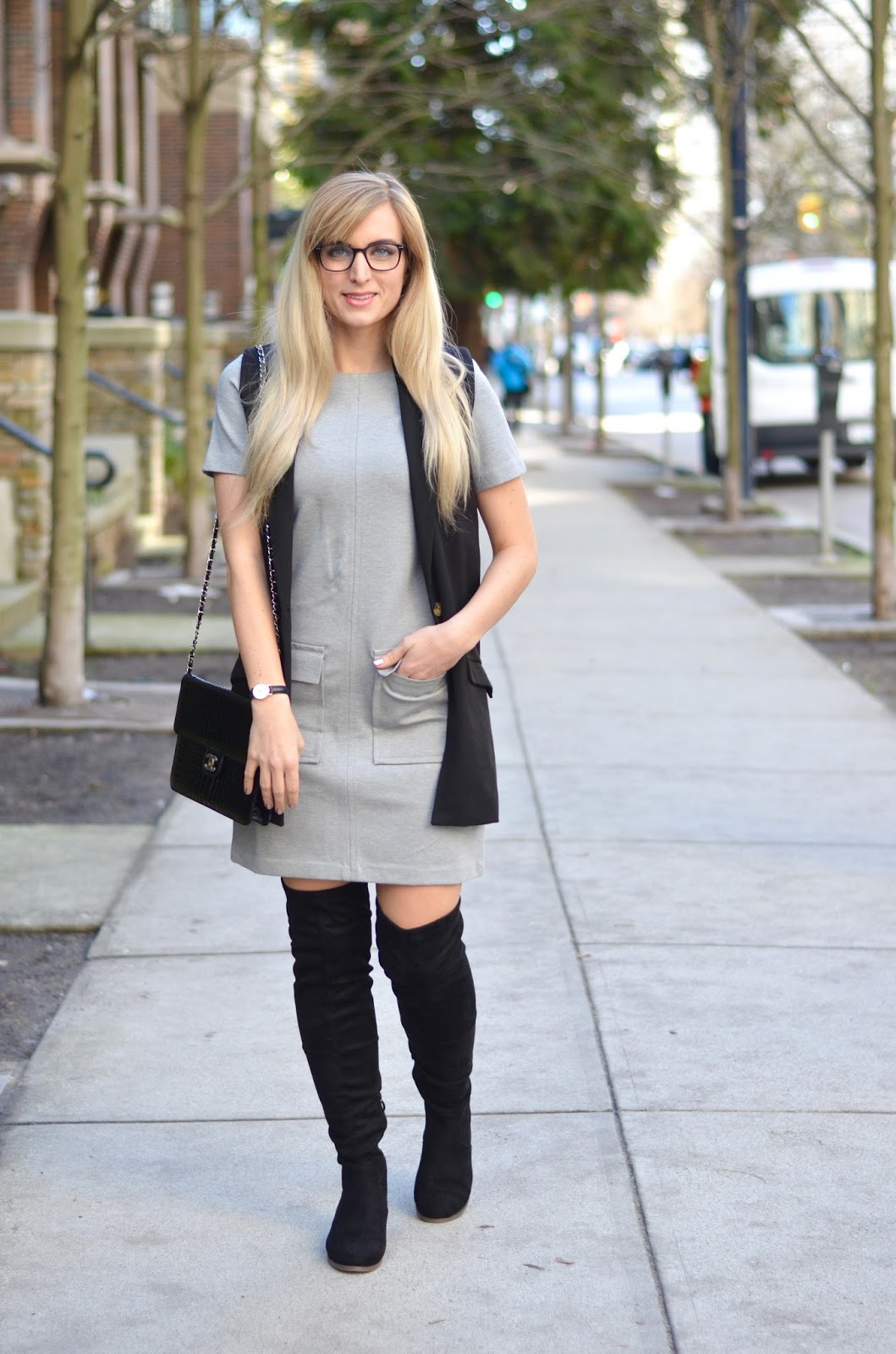 work appropriate over the knee boots outfit