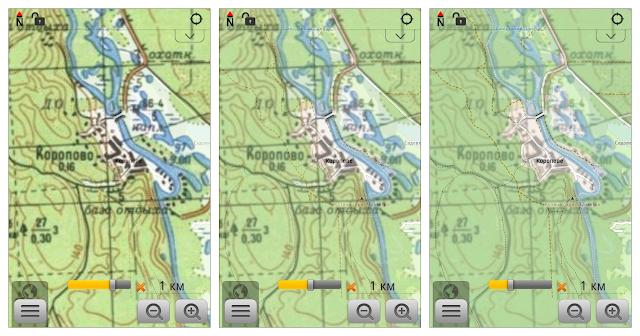 Совместное отображение двух карт при разных положениях ползунка, регулирующего прозрачность