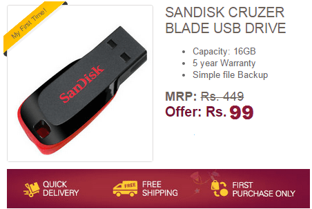 Ebay Flash Sale - Buy Sandisk 16GB PenDrive at Rs 99 only