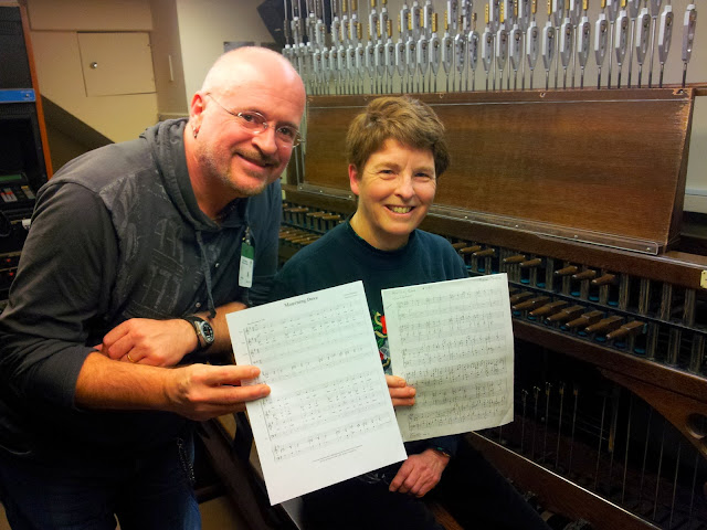 Our director with our Dominion Carilloneur, Andrea McCrady and her arrangement of his carol, Mourning Dove