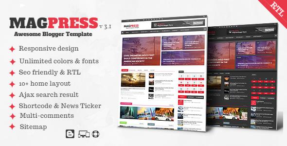 Magpress v3.1 - Magazine Responsive Blogger Template (Free Premium)