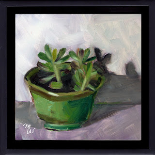 Succulents jade plant original oil painting by artist Merrill Weber