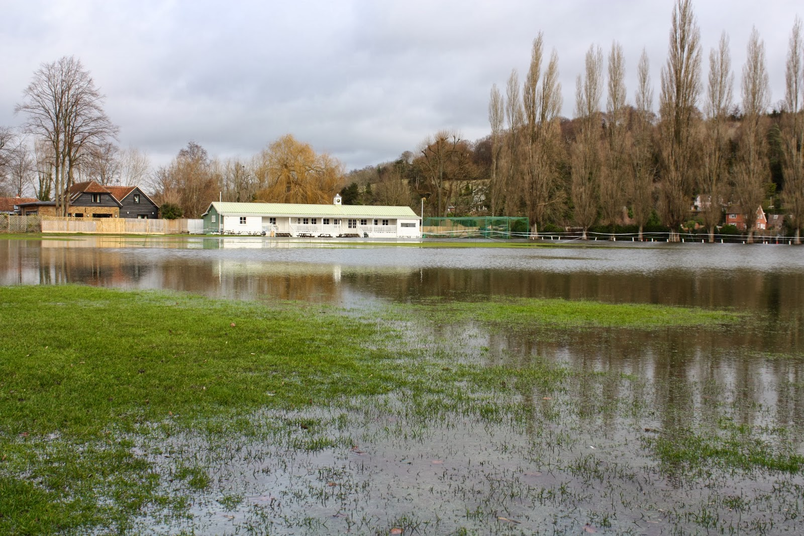 Flooded cricket pitch in Henley on Thames