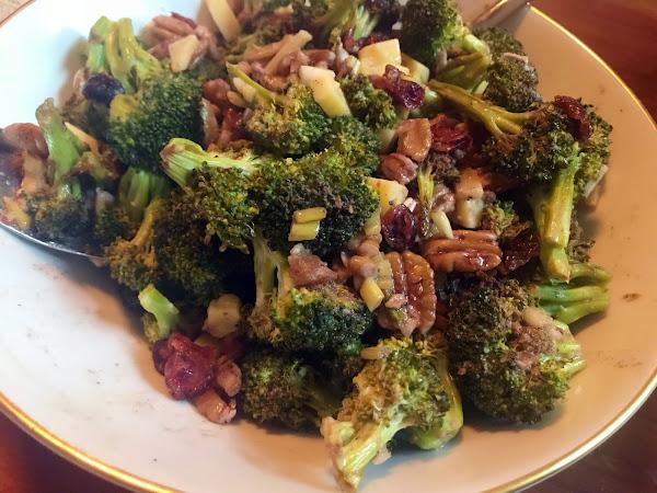 Short and Savory (Roasted Broccoli Salad with Cheddar and Bacon Vinaigrette)