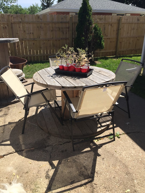Wooden spool DIY patio table