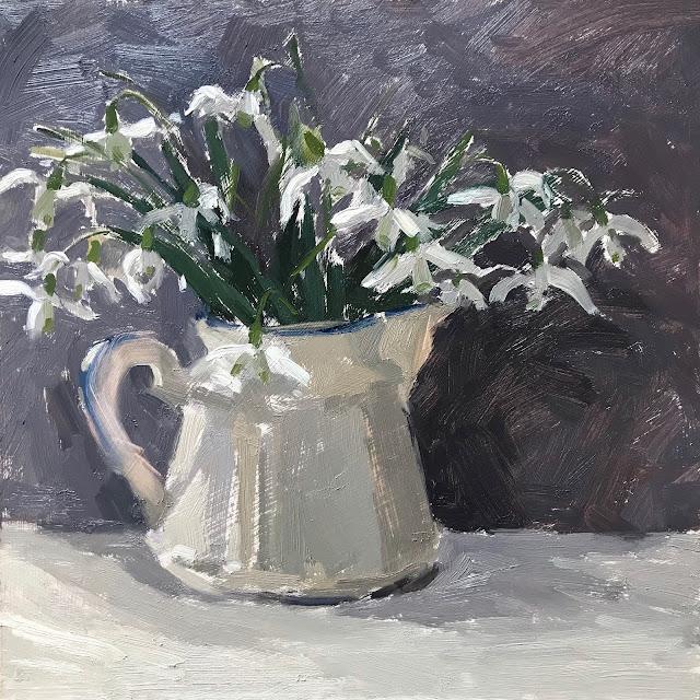 #313 'Snowdrops in Ceramic Jug' 8×8″ & Viewfinders