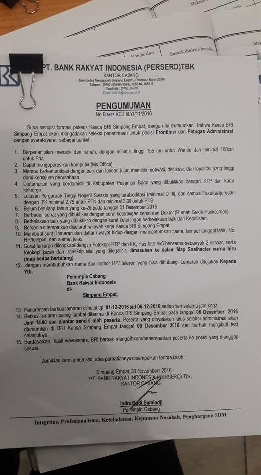 Lowongan Kerja di Pasaman – PT.Bank Rakyat Indonesia – 2 Posisi (Penutupan 6 Des.2016)