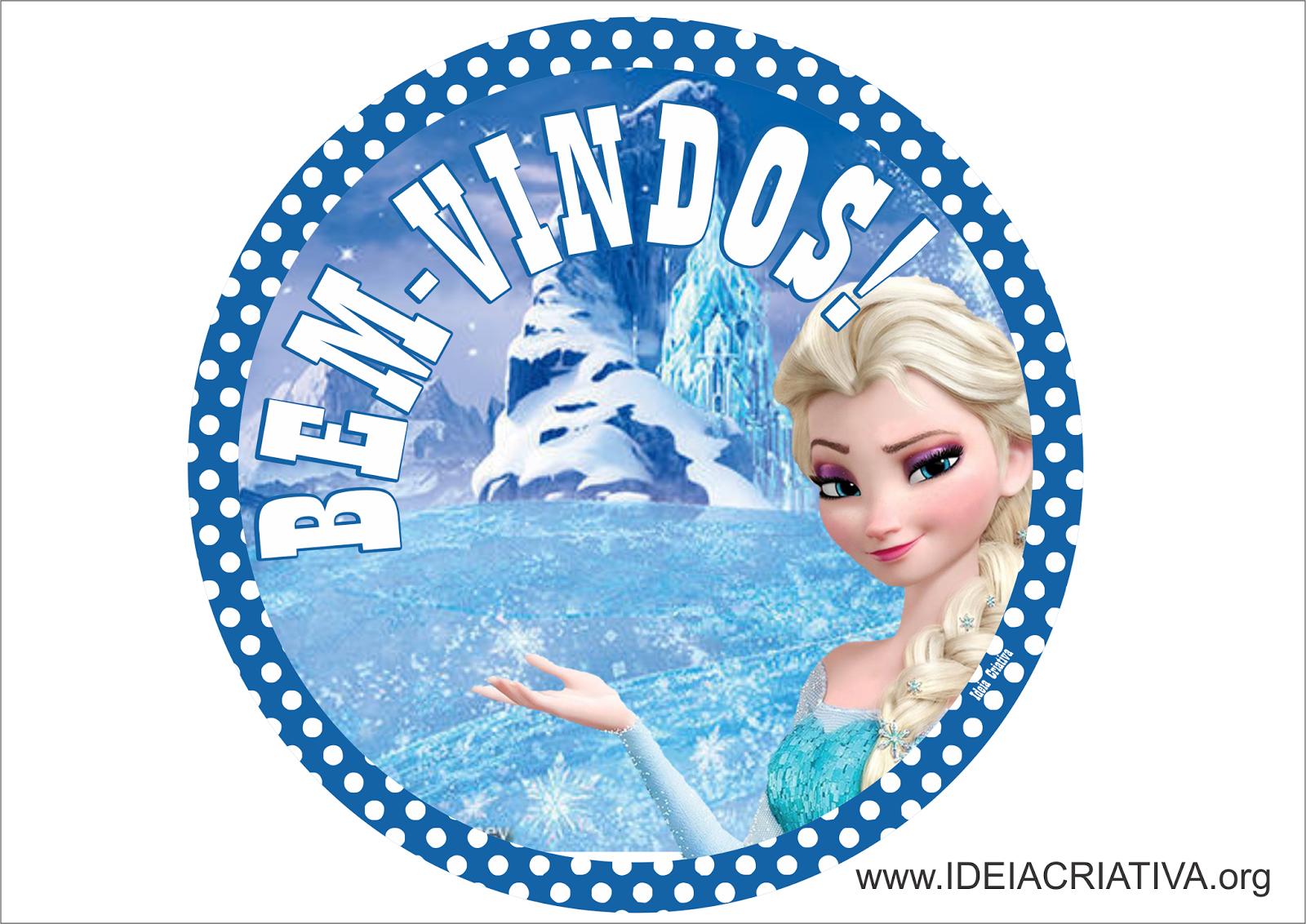 Plaquinhas personalizáveis Bem Vindos para Porta Frozen