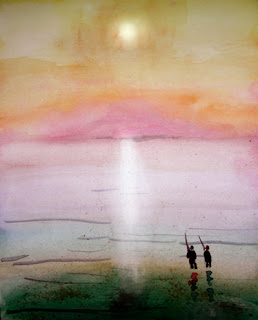 Two people on a beautiful shore fishing. Watercolour by Steven Ponsford