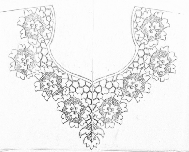 Hand Emroidery Designs For Neck Pencil Sketch And Drawing Neck
