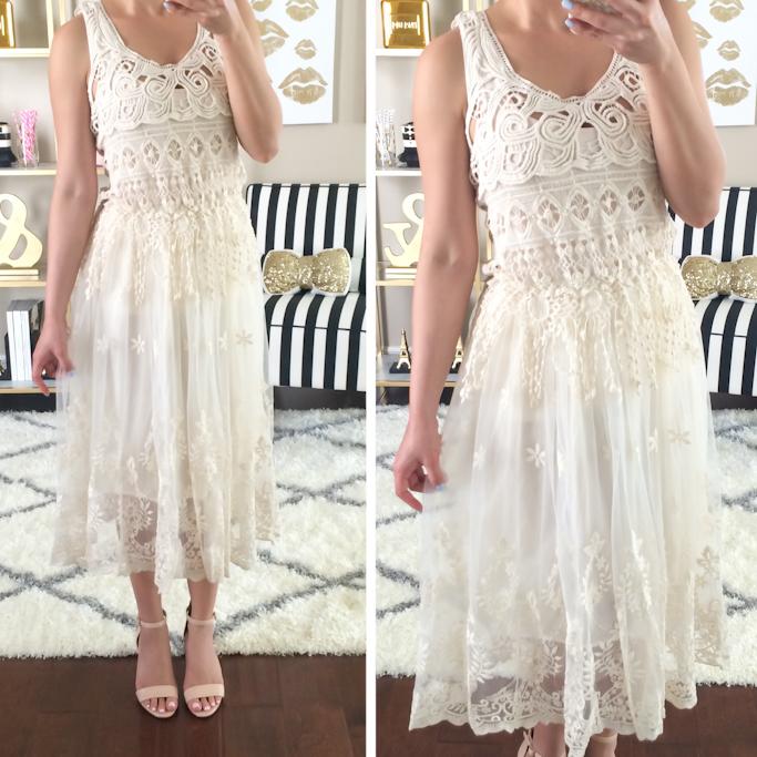 dc119dc94ac bohemian boho lace vintage dress crochet BP luminate blush nude sandals  midi length