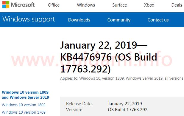 Sito Microsoft Support pagina aggiornamento cumulativo KB4476976
