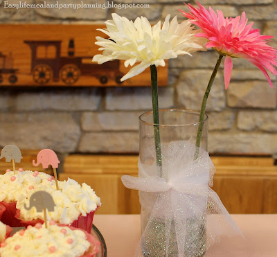 Vases of Daisies wrapped in sparkling net - Easy Life Meal & Party Planning