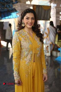 Actress Mehrene Kaur Stills in Yellow Long Dress at Sundeep Kishan New Movie Opening .COM 0022.JPG
