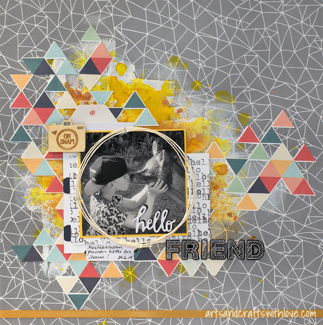 Layout for June 123 Get Scrappy: Hello Friend