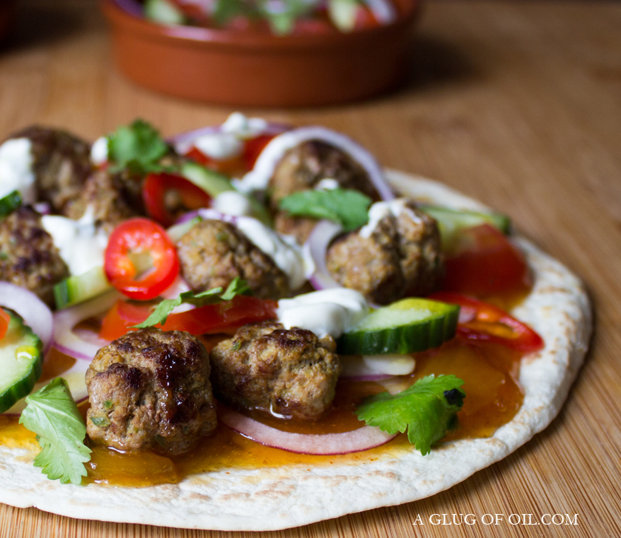 Spicy Lamb Meatball Pizzas