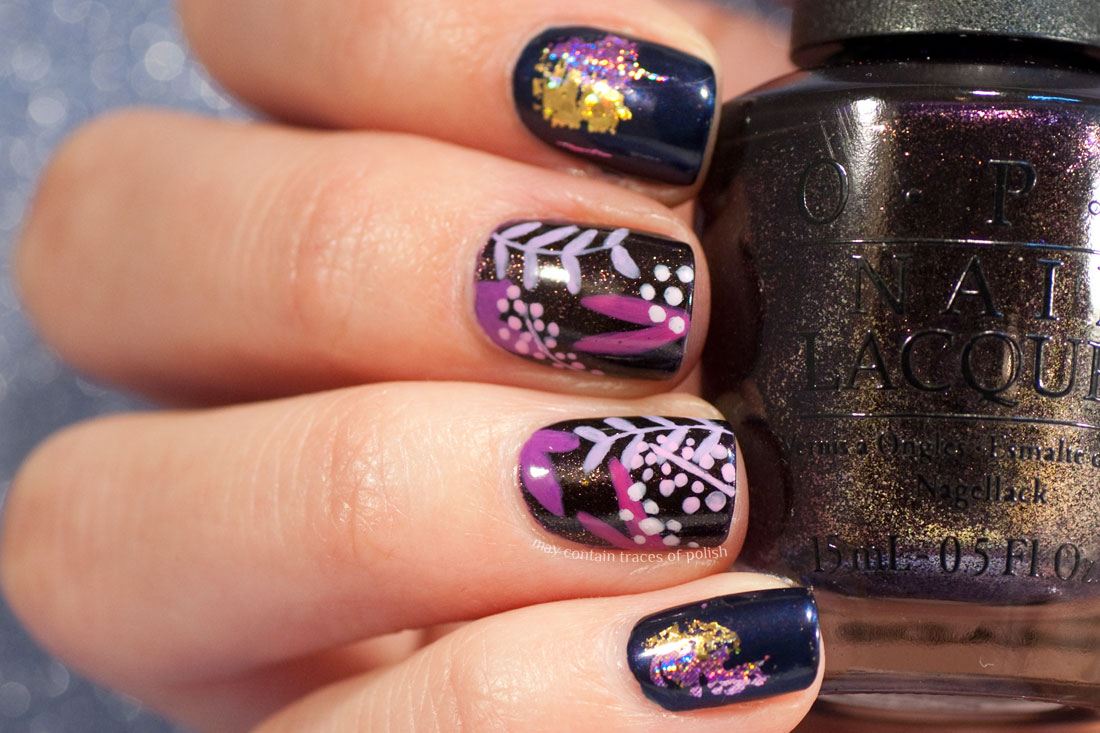Purple Autumn Leaf Manicure with OPI Russian Navy and OPI First Class Desires