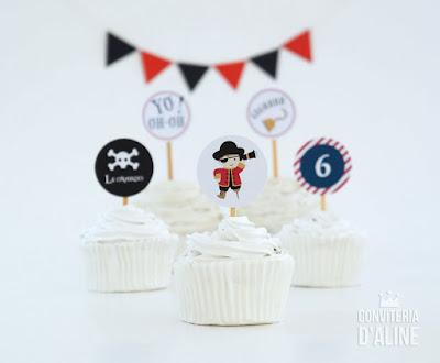festa piratas topo topper cupcake doce