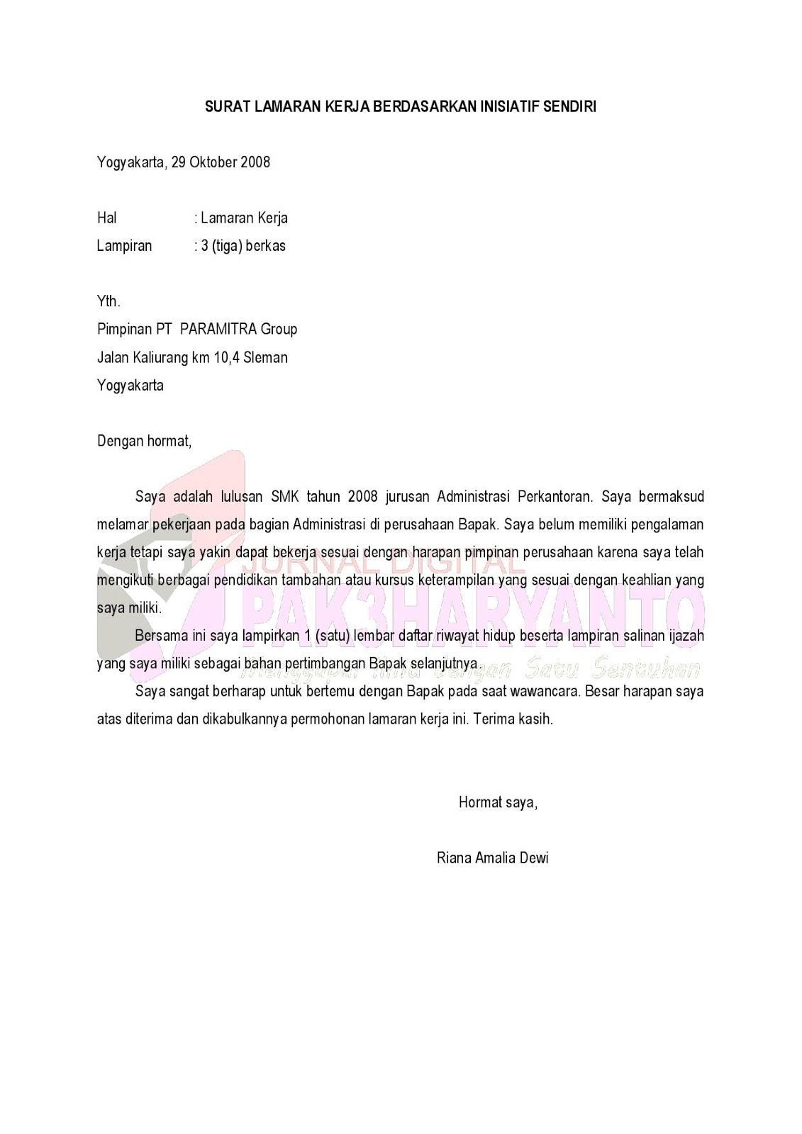 Contoh Surat Lamaran Kerja Inisiatif Sendiri Surat 29