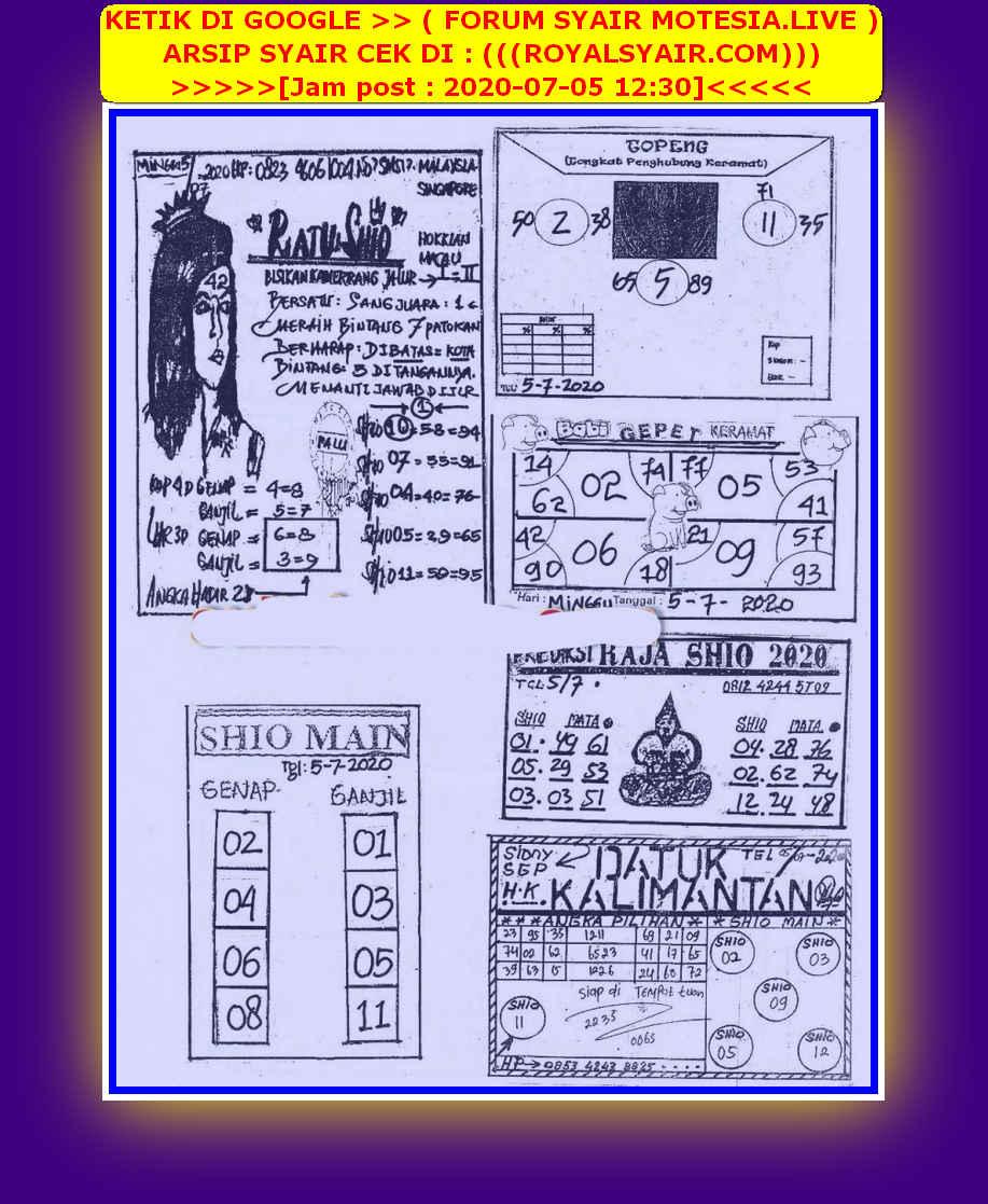 Kode syair Hongkong Minggu 5 Juli 2020 86