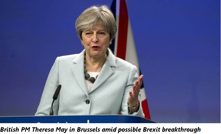 British PM Theresa May in Brussels amid possible Brexit breakthrough