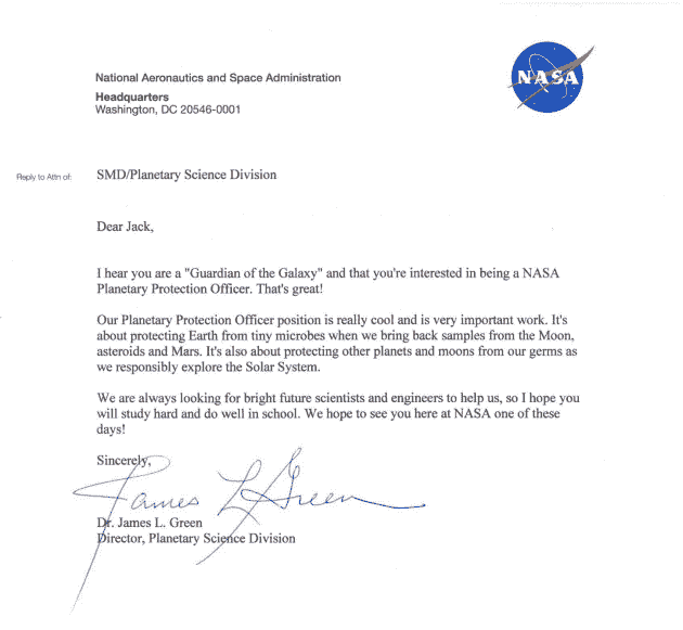 NASA RESPONSE TO LITTLE BOY ON JOB