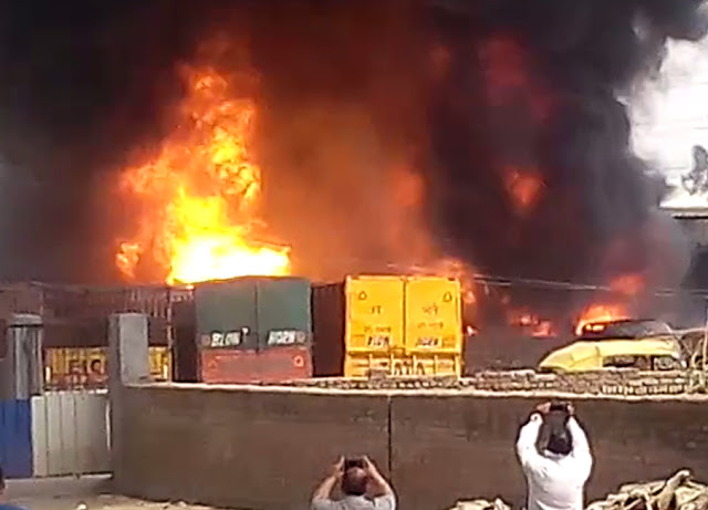 Shriram Oil Company's warehouse in Mujsar damages millions of fires