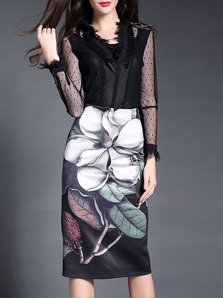 N.M DENG N. White Casual Printed Floral Midi Skirt – Price: $65.00