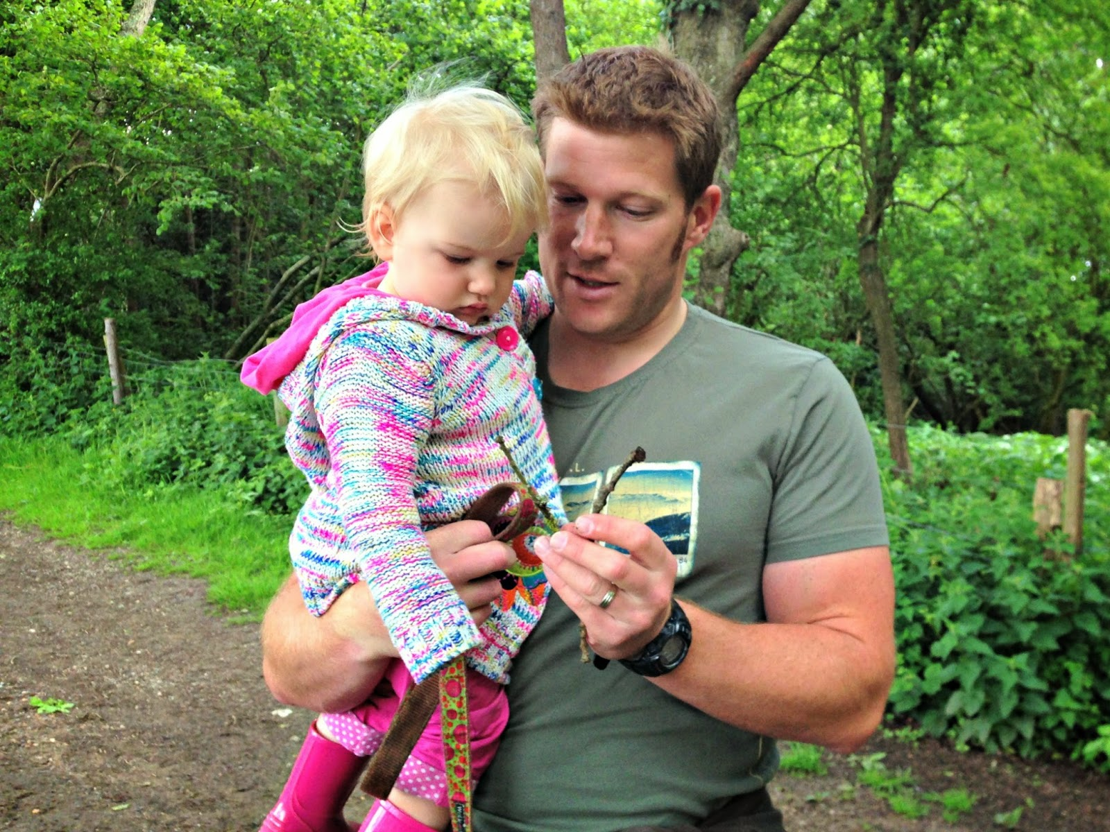 Tin Box Tot pick suitable Pooh sticks with her dad