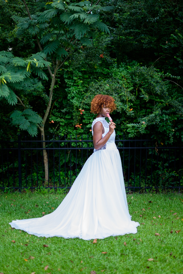 Beautiful Alfred Sung Wedding Dress Pops against the Greenery