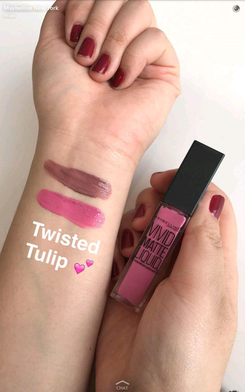 maybelline new vivid matte liquid lipstick swatches 3 twisted tulip
