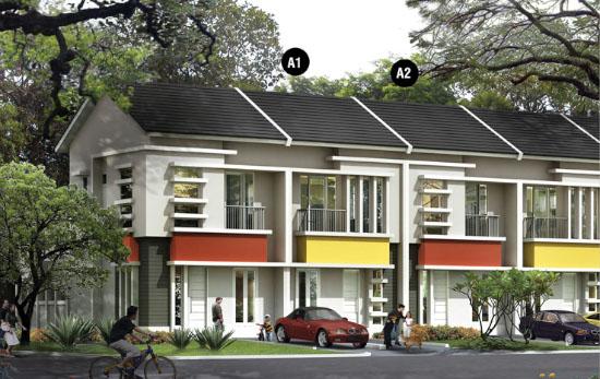 tampak depan rumah minimalis ukuran 6x18 meter 4 kamar tidur 2 lantai