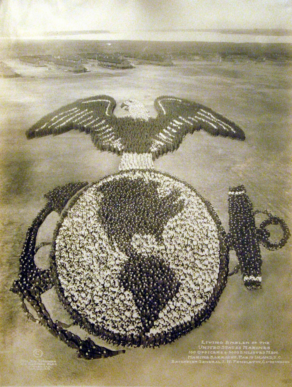 Living Emblem of the United States Marines. 100 Officers & 9000 Enlisted Men.