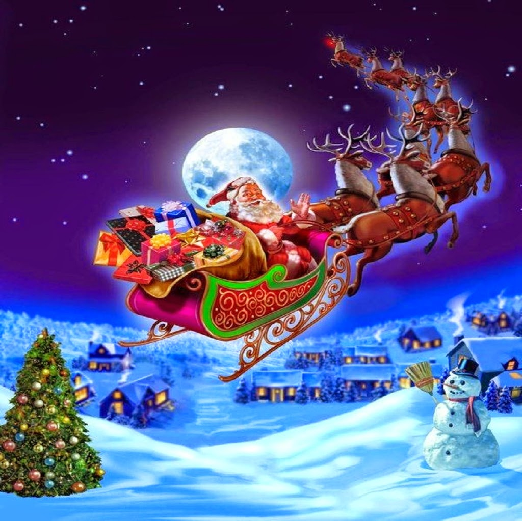 pictures of santa and his sleigh santa claus coming to town riding his reindeer sleigh 8047