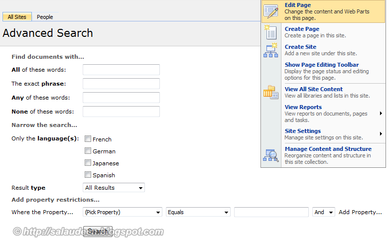 enable advanced search for custom columns sharepoint 2010