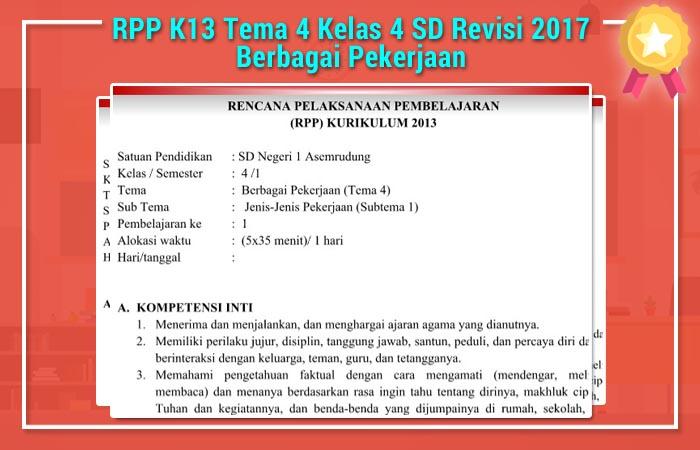RPP K13 Tema 4 Kelas 4 SD Revisi 2017 Berbagai Pekerjaan